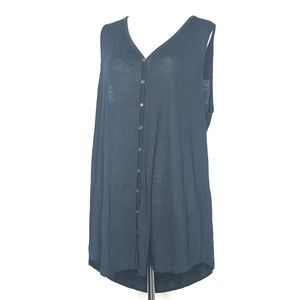 J.Jill Black Sleeveless Button Tunic Top A110767